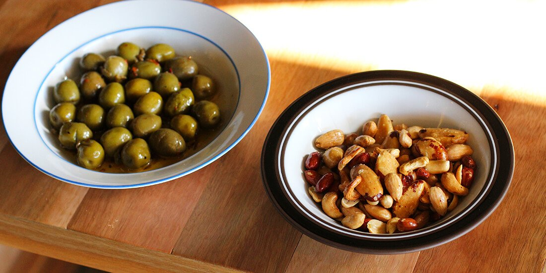 Green olives and hot buttered nuts